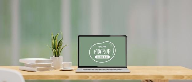 Renderização 3d da tela da maquete do laptop na mesa de madeira