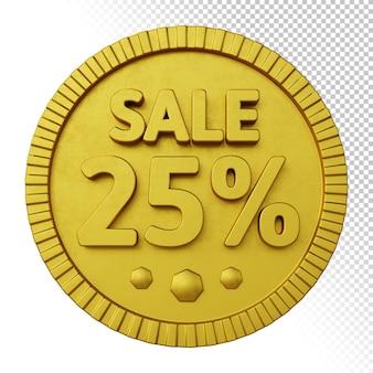 Renderização 3d da venda 25% de desconto com emblema circular dourado em negrito isolado