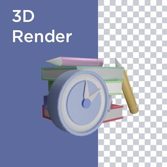 Renderização 3d da vista lateral do relógio, livro e lápis