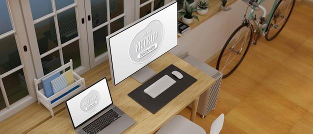 Renderização 3d da vista superior da mesa do escritório em casa ao lado da janela