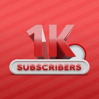 Renderização 3d de 1 mil assinantes do canal do youtube