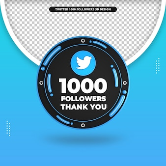 Renderização 3d de 1000 seguidores no design do twitter