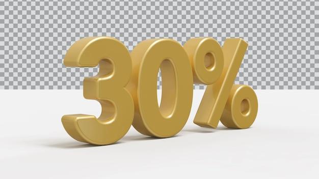 Renderização 3d de 30 por cento de luxo dourado