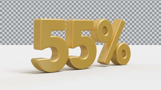 Renderização 3d de 5 por cento de luxo dourado