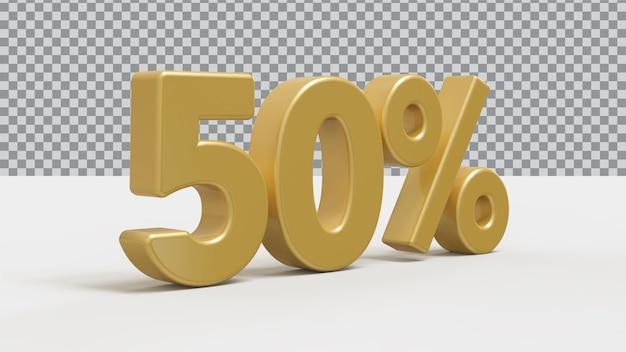 Renderização 3d de 50 por cento de luxo dourado