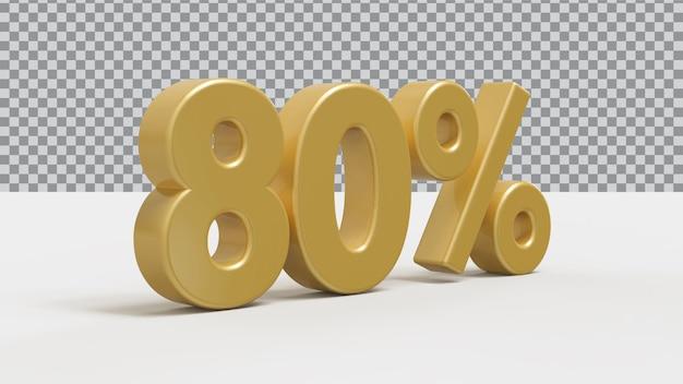 Renderização 3d de 80 por cento de luxo dourado