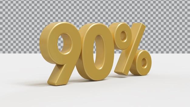 Renderização 3d de 90 por cento de luxo dourado
