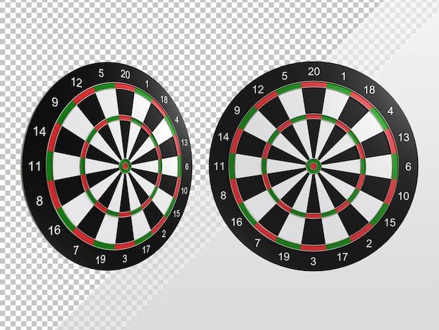 Renderização 3d de alvo de dardos em perspectiva e vista frontal