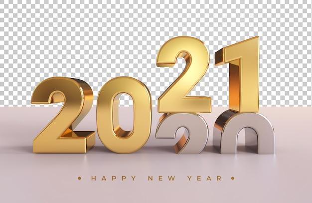 Renderização 3d de ano novo em prata e ouro 2021 isolada