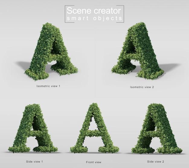 Renderização 3d de arbustos em forma de letra a