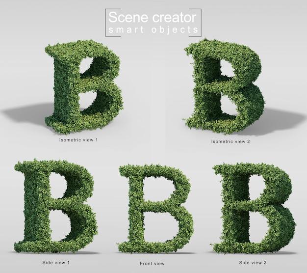 Renderização 3d de arbustos em forma de letra b