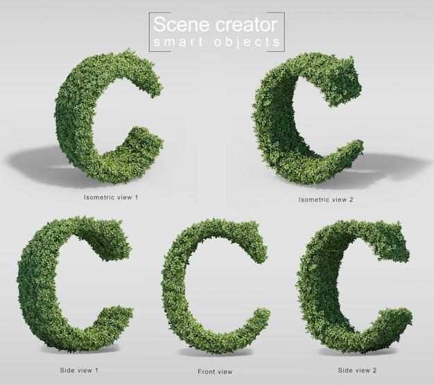 Renderização 3d de arbustos em forma de letra c
