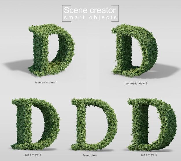 Renderização 3d de arbustos em forma de letra d