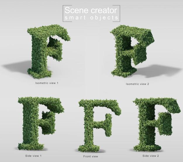 Renderização 3d de arbustos em forma de letra f