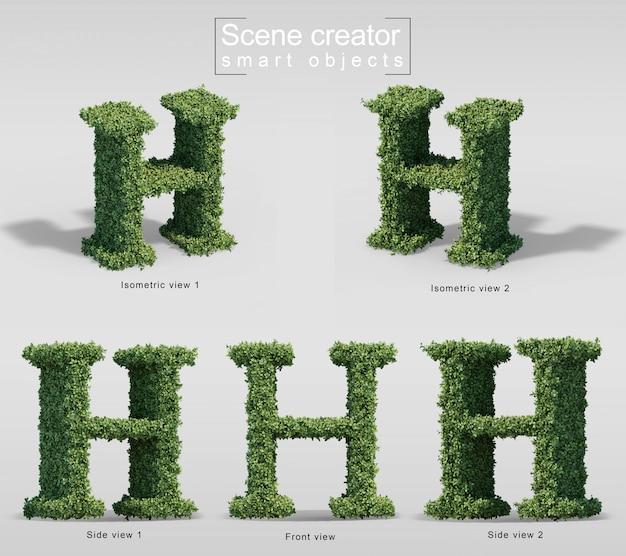 Renderização 3d de arbustos em forma de letra h
