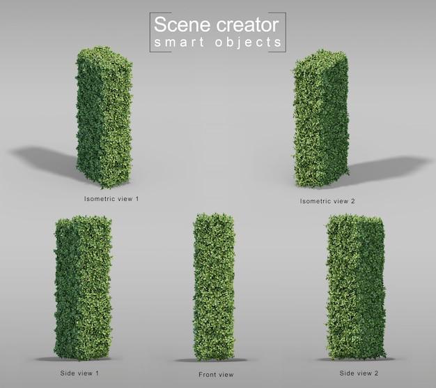 Renderização 3d de arbustos em forma de letra i