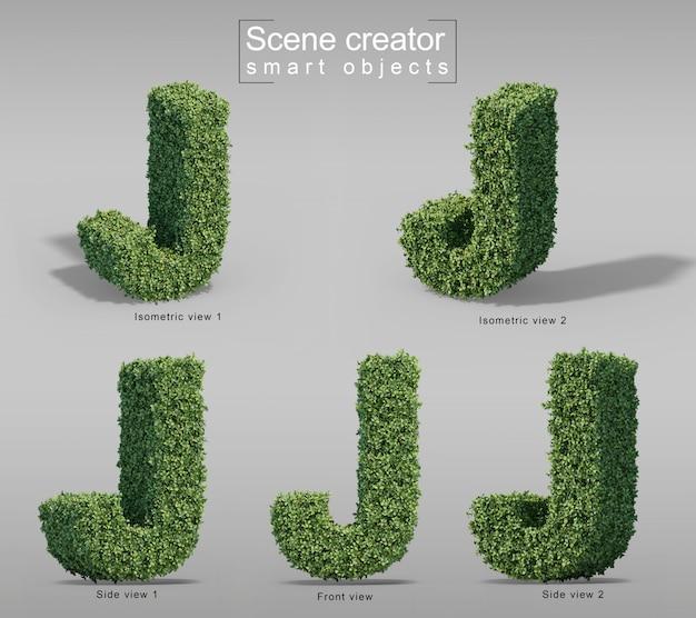 Renderização 3d de arbustos em forma de letra j