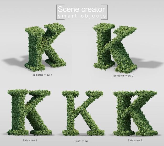 Renderização 3d de arbustos em forma de letra k