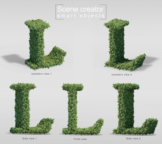 Renderização 3d de arbustos em forma de letra l