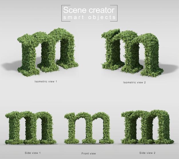 Renderização 3d de arbustos em forma de letra m