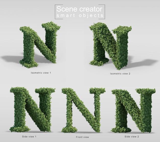 Renderização 3d de arbustos em forma de letra n