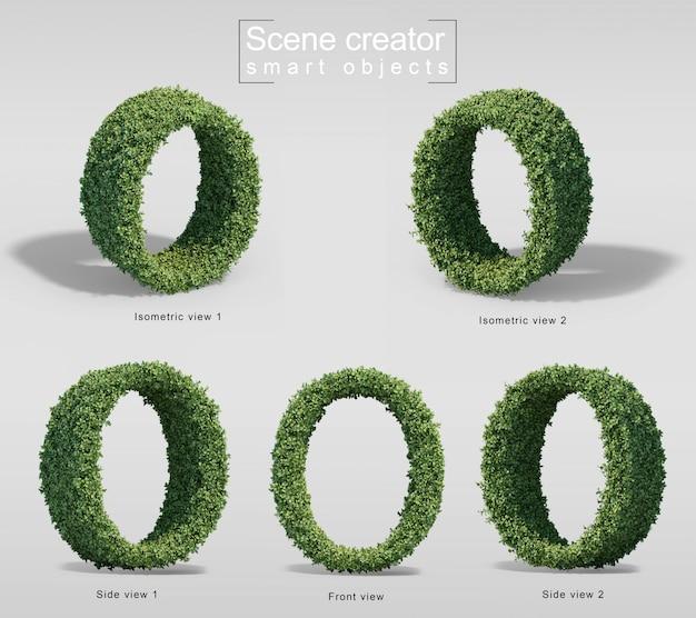 Renderização 3d de arbustos em forma de letra o