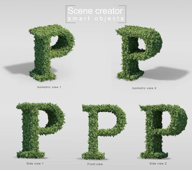 Renderização 3d de arbustos em forma de letra p
