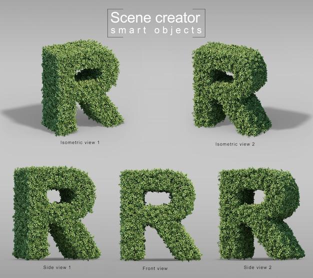 Renderização 3d de arbustos em forma de letra r