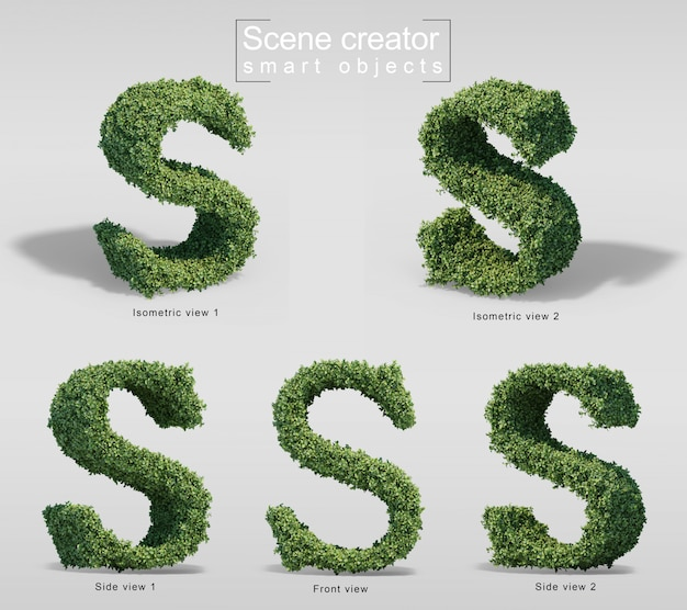 Renderização 3d de arbustos em forma de letra s