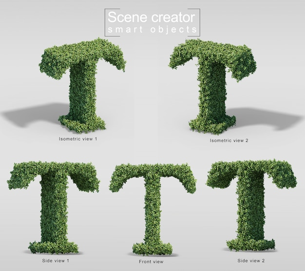 Renderização 3d de arbustos em forma de letra t