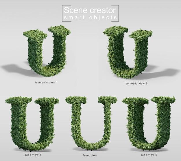 Renderização 3d de arbustos em forma de letra u