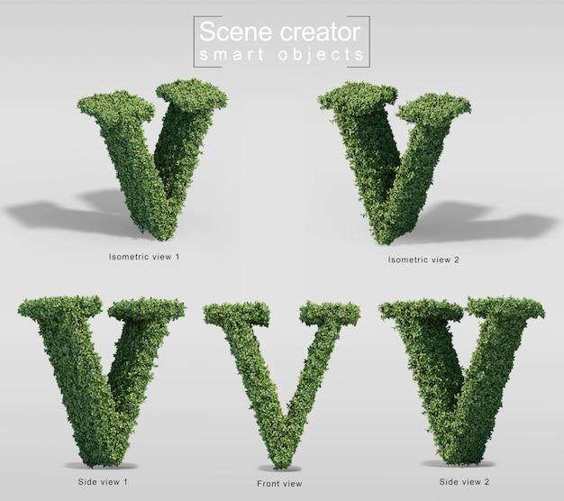 Renderização 3d de arbustos em forma de letra v