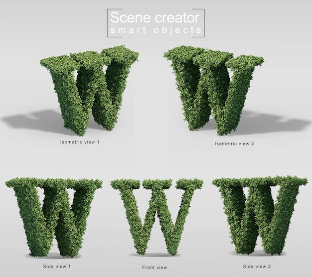 Renderização 3d de arbustos em forma de letra w