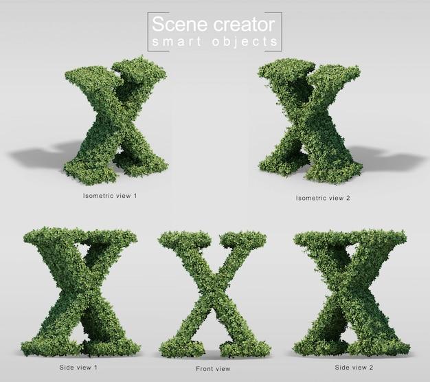 Renderização 3d de arbustos em forma de letra x