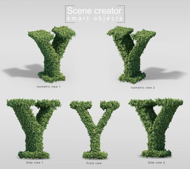 Renderização 3d de arbustos em forma de letra y