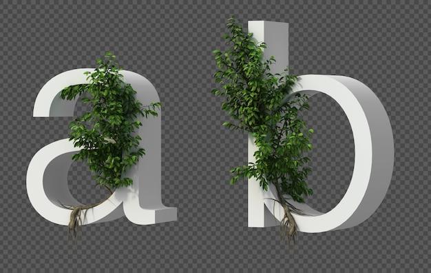 Renderização 3d de árvore rasteira no alfabeto aeb alfabeto b