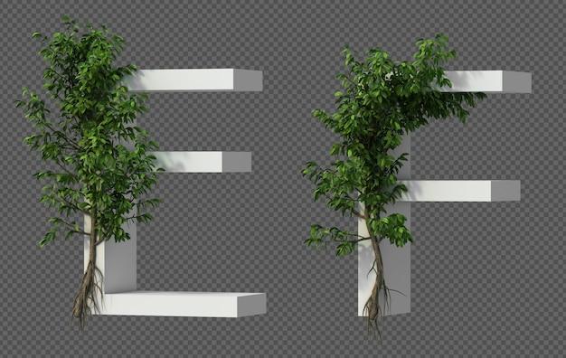 Renderização 3d de árvore rastejante no alfabeto e e alfabeto f