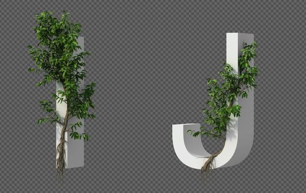 Renderização 3d de árvore rastejante no alfabeto i e alfabeto j