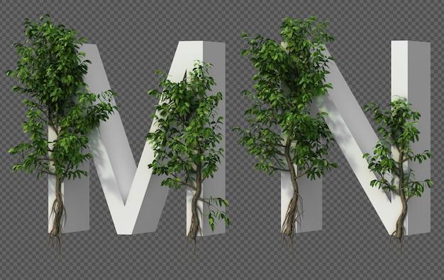 Renderização 3d de árvore rastejante no alfabeto m e alfabeto n