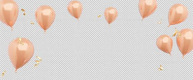 Renderização 3d de balões com fundo transparente para exibição de produtos