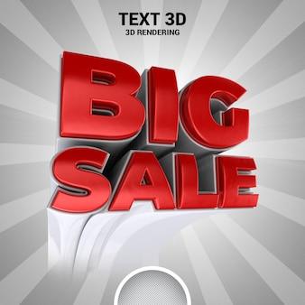 Renderização 3d de banner de grande venda