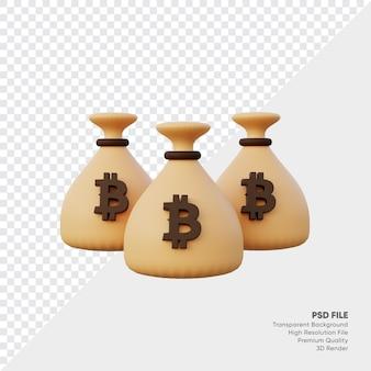 Renderização 3d de bitcoin de bolsa de dinheiro