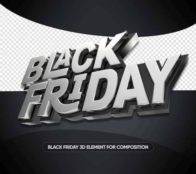 Renderização 3d de black friday isolada