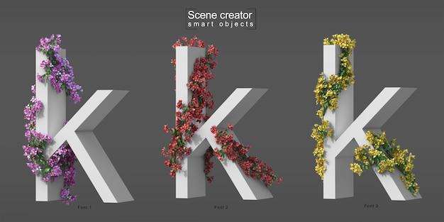 Renderização 3d de buganvílias rastejantes no alfabeto k