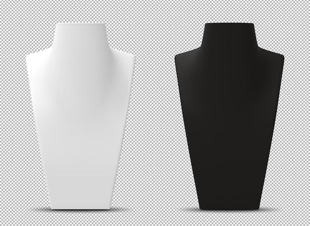 Renderização 3d de bustos de manequim isolados