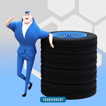 Renderização 3d de caracteres mecânicos com pneus