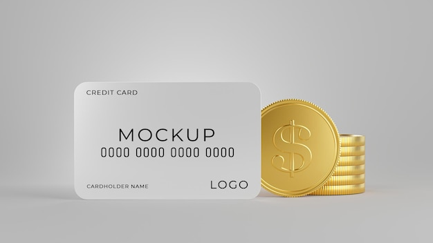 Renderização 3d de cartão de crédito com pilha de moedas de ouro