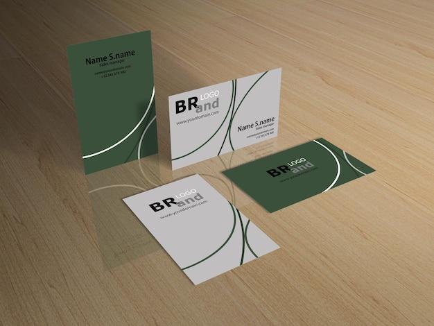 Renderização 3d de cartões de visita no chão de madeira. brincar
