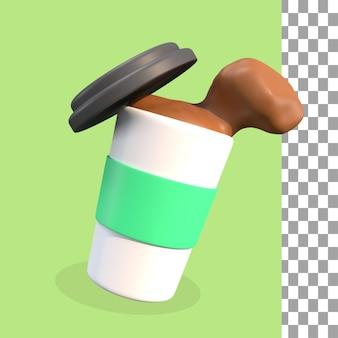 Renderização 3d de chá verde e café psd