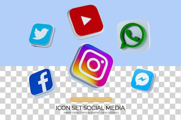 Renderização 3d de coleção de conjunto de ícones de mídia social_2